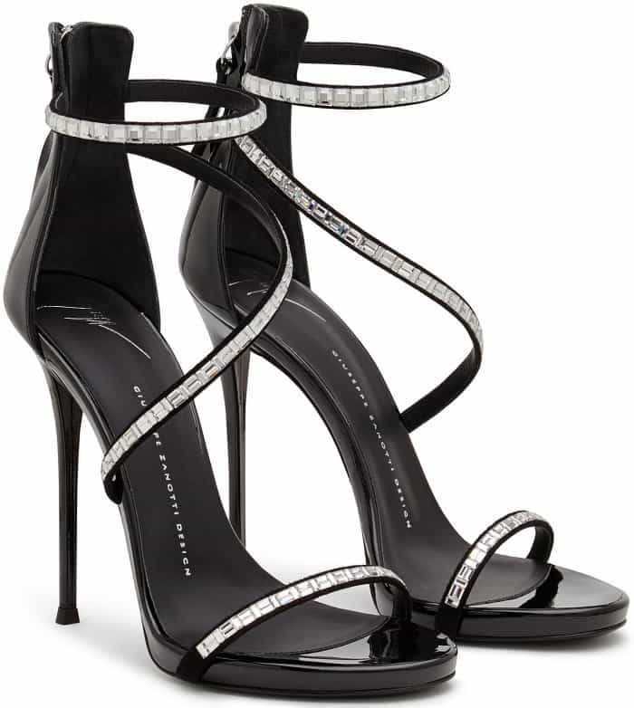 "Giuseppe Zanotti ""Calliope"" Black Patent Sandals with Crystal Snake Embellishment"