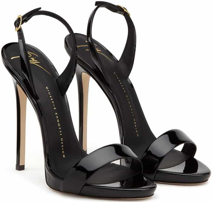"Giuseppe Zanotti ""Sophie"" Sandals in Black Patent Leather"