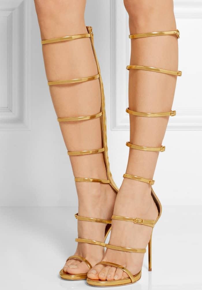"Giuseppe Zanotti ""Super Harmony"" Sandals in Metallic Gold Leather"