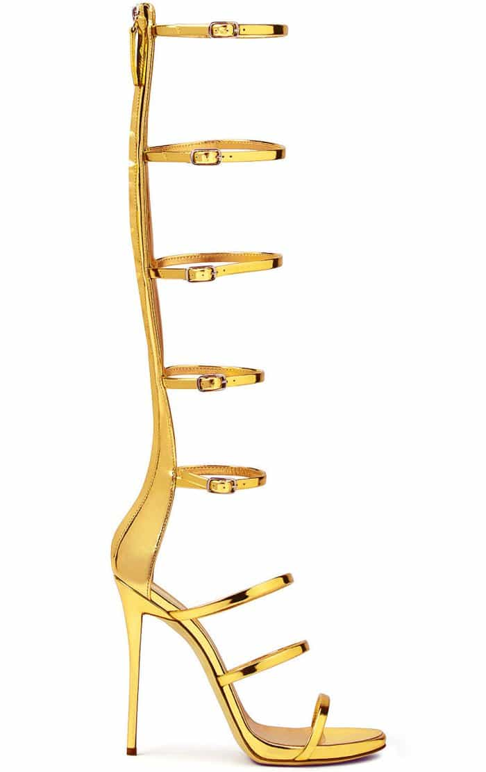 "Giuseppe Zanotti ""Super Harmony"" Sandals in Mirrored Gold Patent Leather"