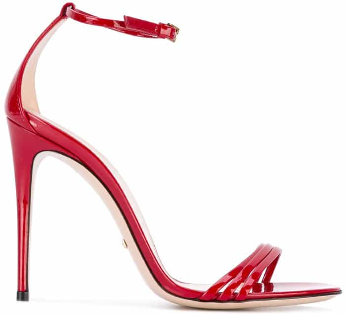 Gucci Stiletto Sandals in Red Patent Leather