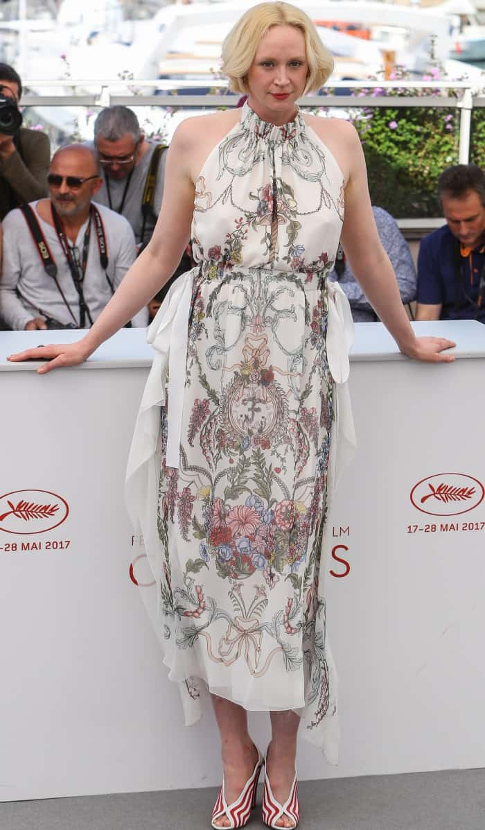 """Gwendoline Christie wearing head-to-toe Fendi at the 70th Cannes Film Festival """"Top of the Lake: China Girl"""" photocall"""