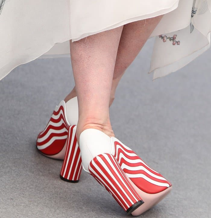 """Gwendoline Christie wearing Fendi striped leather pumps at the 70th Cannes Film Festival """"Top of the Lake: China Girl"""" photocall"""