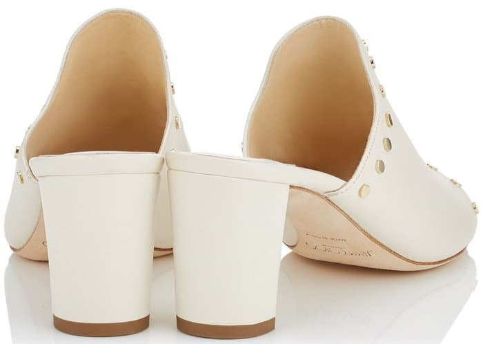 "Jimmy Choo ""Myla"" White Nappa Leather Mules with Gold Studs"