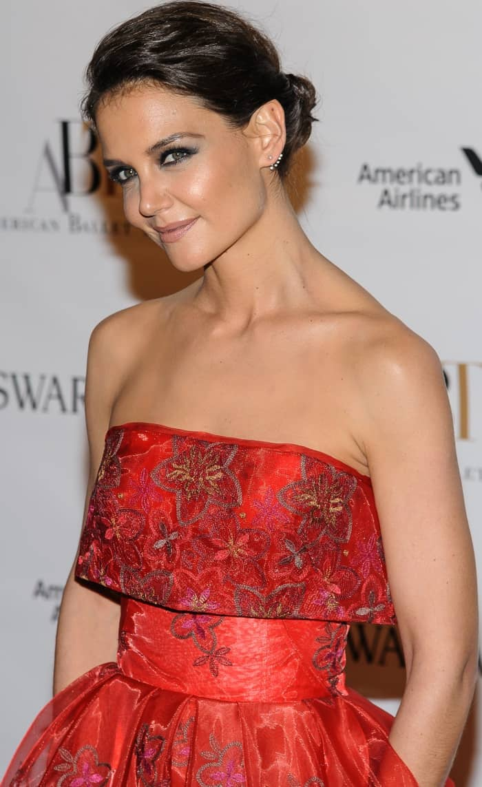 Katie Holmes wearing a Zac Posen dress and red ankle-strap heels at the American Ballet Theatre Spring 2017 Gala