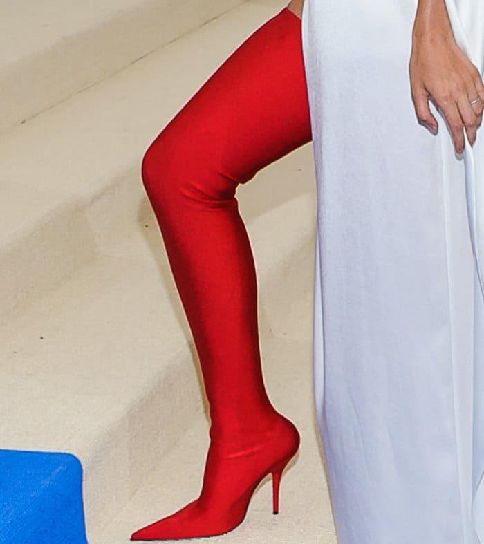 Lily Aldridge's bold red Balenciaga boots
