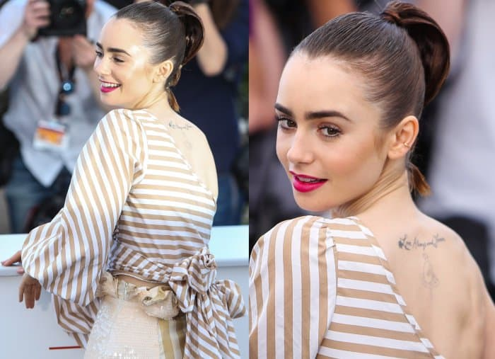 "Lily Collins wearing a Johanna Ortiz ensemble and Saint Laurent ""Janis"" pumps at the 70th Cannes Film Festival ""Okja"" photocall"