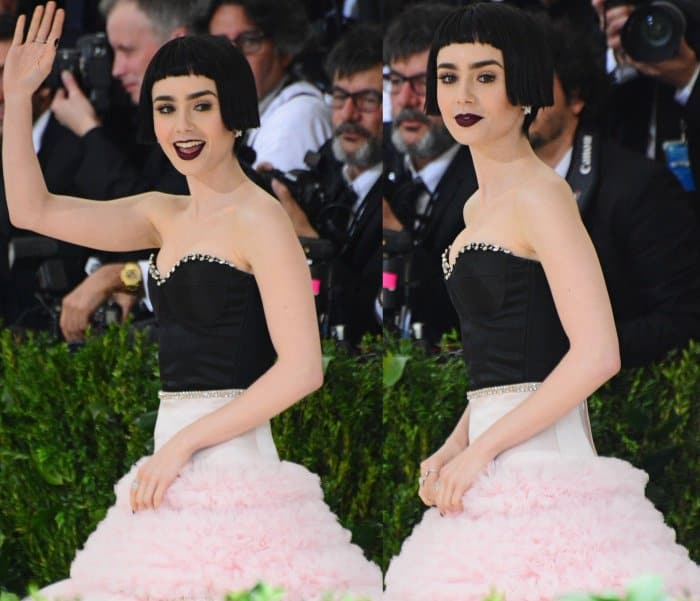 """Lily Collins wearing a Giambattista Valli fall 2016 couture gown and Charlotte Olympia """"Eugenie"""" sandals at the 2017 Met Gala"""