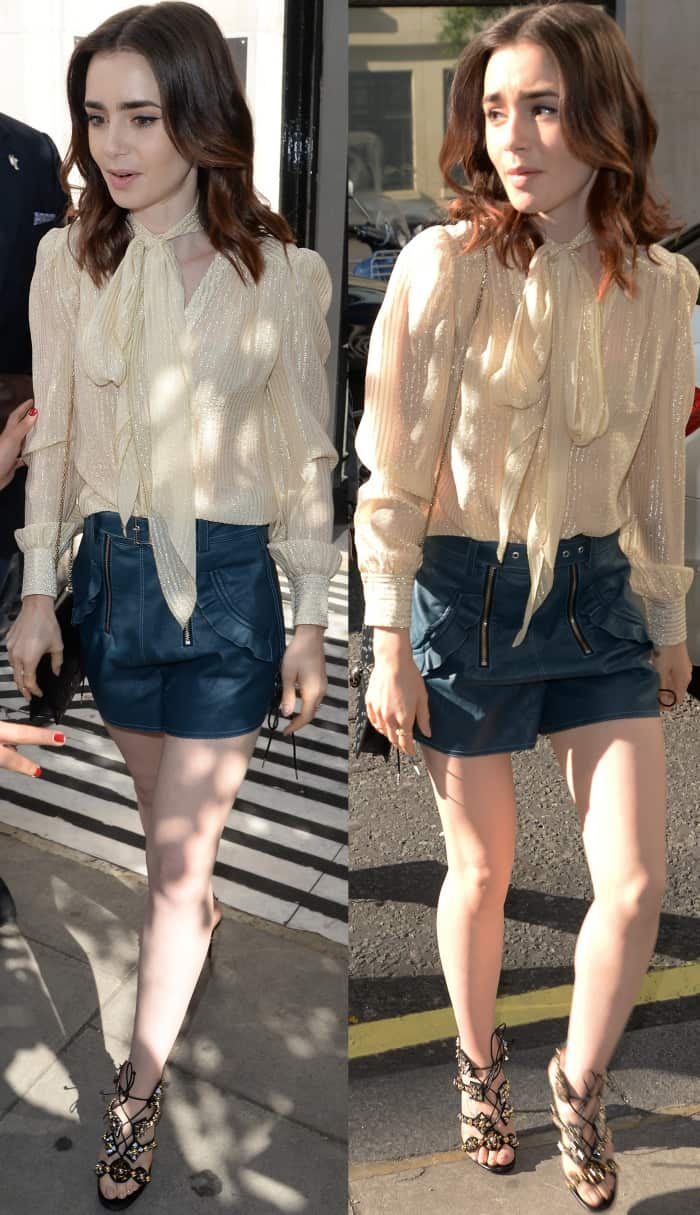 """Lily Collins wearing a pussy bow blouse, Self-Portrait leather shorts, and Christian Louboutin """"Kaleikita"""" sandals at the BBC Radio 2 studios in London"""