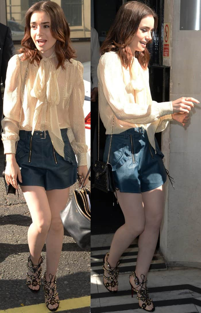 "Lily Collins wearing a pussy bow blouse, Self-Portrait leather shorts, and Christian Louboutin ""Kaleikita"" sandals at the BBC Radio 2 studios in London"