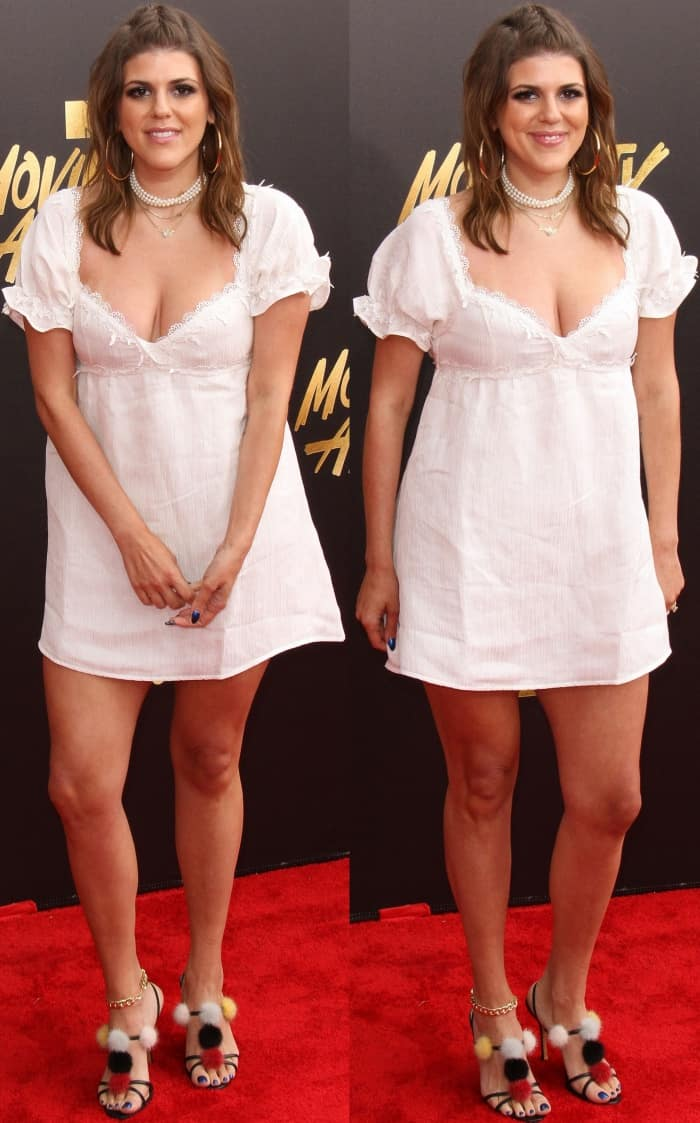 Molly Tarlov wearing a For Love and Lemons dress and Manolo Blank sandals at the 2017 MTV Movie & TV Awards