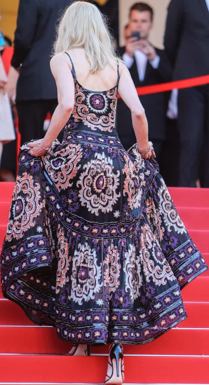 Nicole Kidman wearing an Armani Prive dress and black strappy heels at the 70th Cannes Film Festival Anniversary Gala