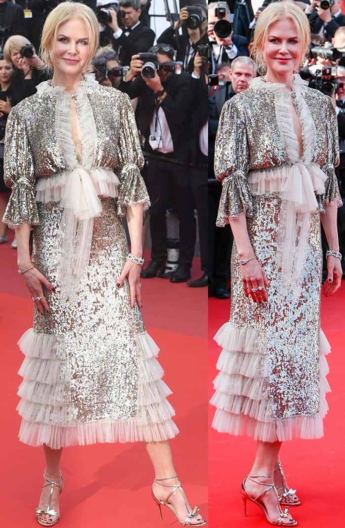 """Nicole Kidman wearing a Rodarte gown and silver bow-embellished sandals at the """"How to Talk to Girls at Parties"""" premiere during the 70th annual Cannes Film Festival"""