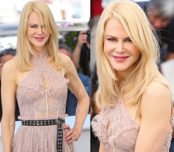 """Nicole Kidman wearing an Alexander McQueen dress and Christian Louboutin ankle-strap pumps at """"The Beguiled"""" photocall during the 70th annual Cannes Film Festival"""
