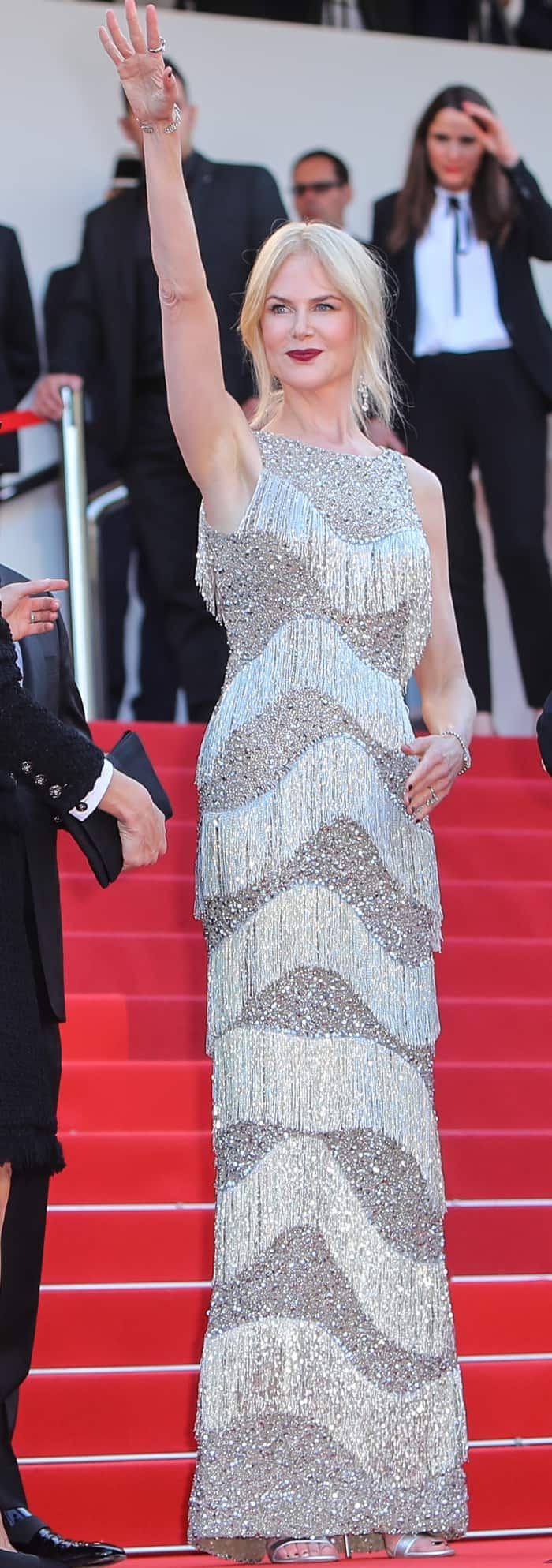 """Nicole Kidman wearing a Michael Kors Collection gown and Gianvito Rossi """"Portofino"""" sandals at """"The Beguiled"""" premiere during the 70th annual Cannes Film Festival"""