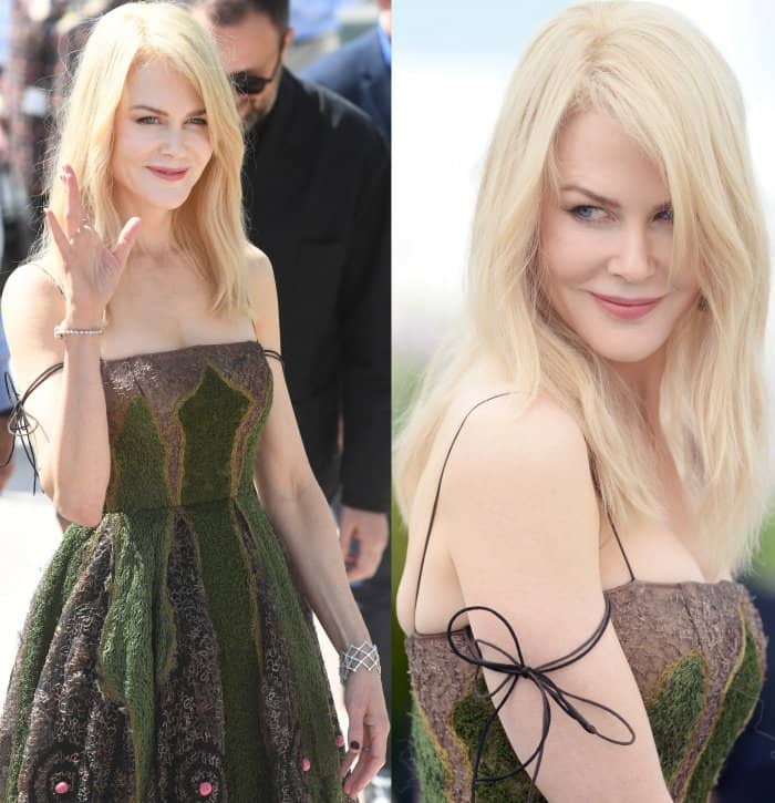 """Nicole Kidman wearing a Christian Dior couture dress and Dior metallic green ankle-strap sandals at """"The Killing of a Sacred Deer"""" photocall during the 70th annual Cannes Film Festival"""