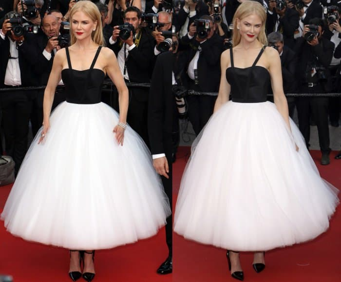 """Nicole Kidman wearing a Calvin Klein By Appointment dress and black Calvin Klein 205W39NYC pumps at """"The Killing of a Sacred Deer"""" premiere during the 70th annual Cannes Film Festival"""
