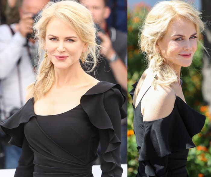 """Nicole Kidman wearing a Versace dress and Christian Louboutin """"Harler"""" pumps at the """"Top of the Lake: China Girl"""" photocall during the 70th annual Cannes Film Festival"""