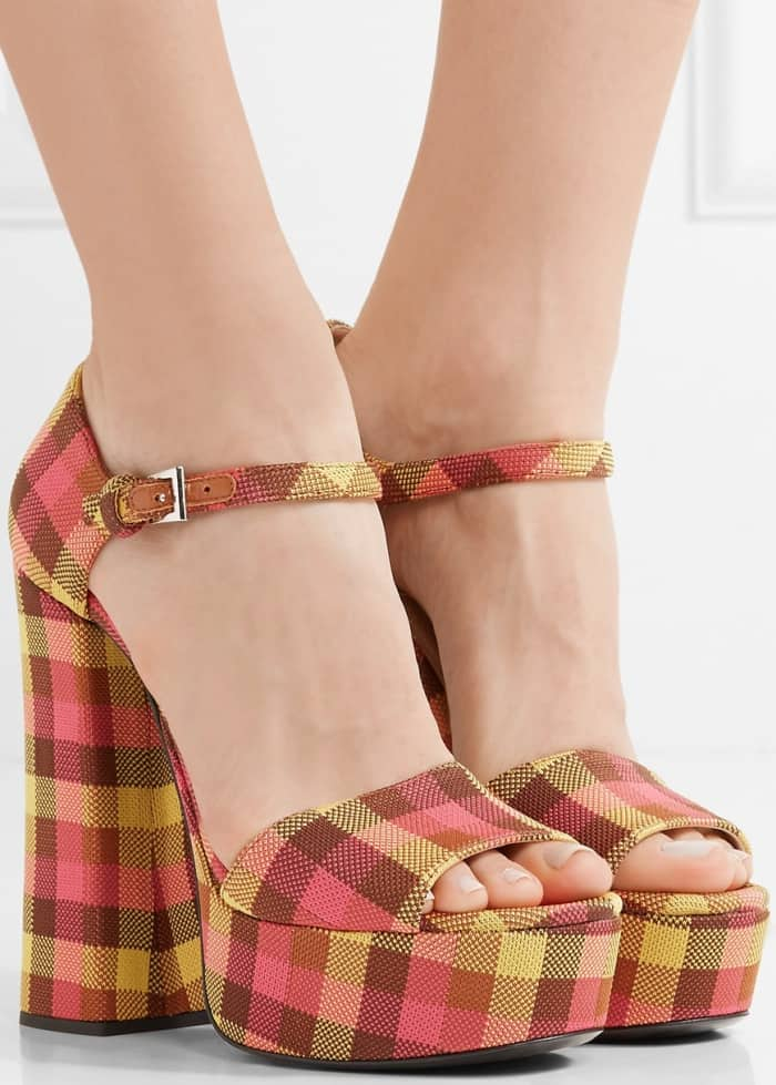 Prada Checked Canvas Platform Sandals