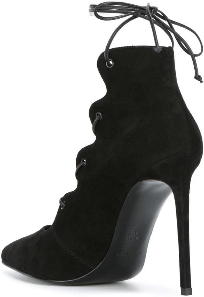 "Saint Laurent ""Paris"" Lace-Up Pumps in Black Suede"