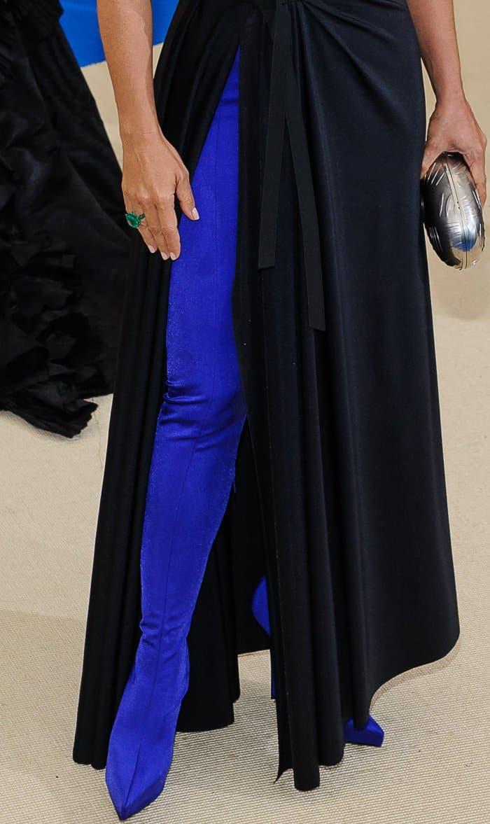 Salma Hayek's electric blue boots by Balenciaga