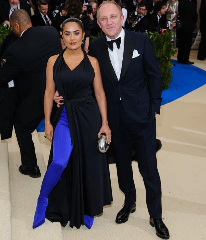 Salma Hayek with husband Francois-Henri Pinault at the 2017 Met Gala