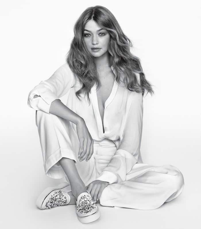 """Gigi Hadid wearing """"Decor"""" sneakers for Stuart Weitzman's Spring/Summer 2017 Campaign"""