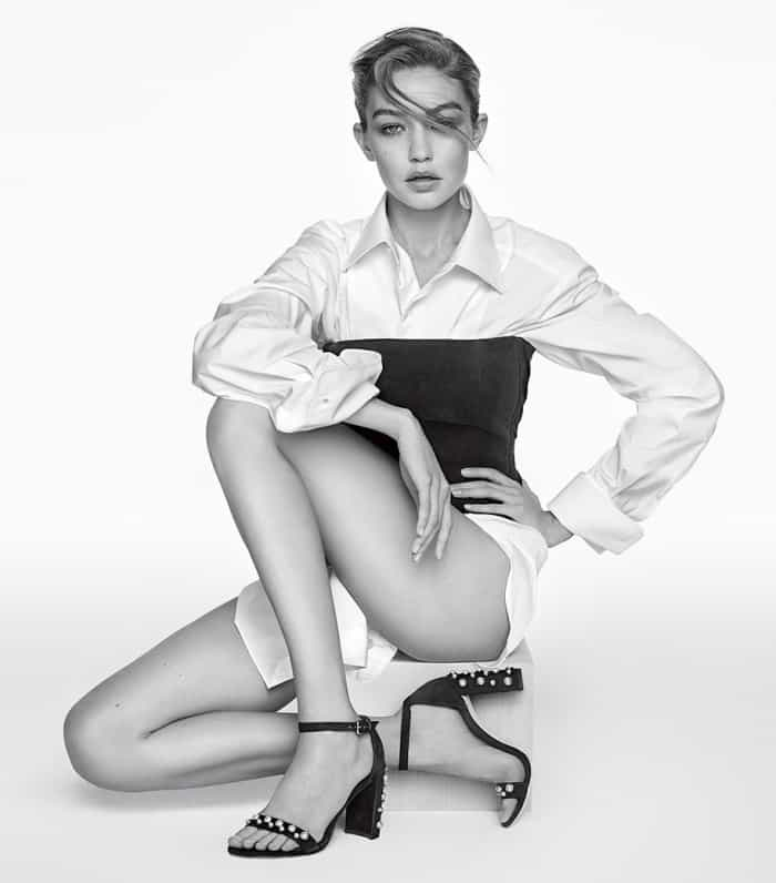 """Gigi Hadid wearing the """"Morepearls"""" sandals for Stuart Weitzman's Spring/Summer 2017 Campaign"""