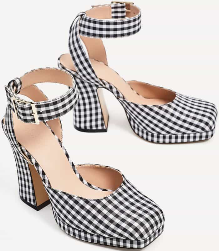 Zara Gingham High Heel Platform Shoes
