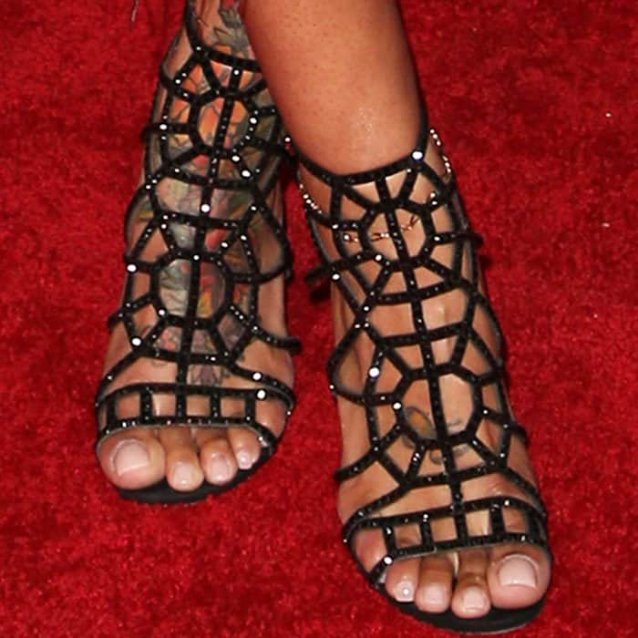 "Blac Chyna showed off her tattooed feet in embellished Sergio Rossi ""Puzzle"" sandals"