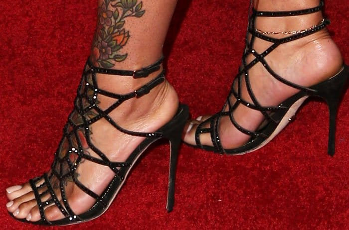 "bd46ba9c0 Blac Chyna showed off her tattooed feet in embellished Sergio Rossi  ""Puzzle"" sandals"