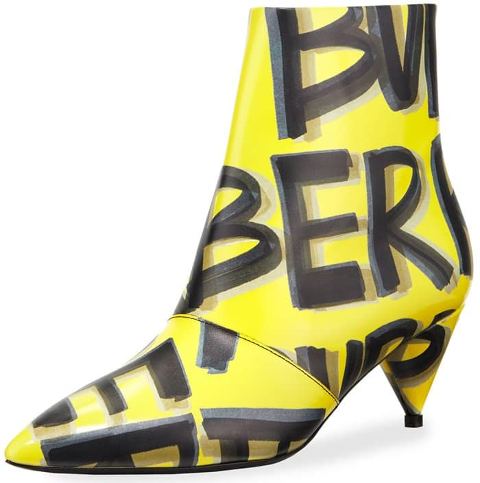 Burberry calf leather ankle boots with marker-stroke graffiti logo print