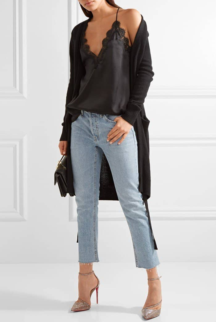 A lace-trimmed silk-charmeuse camisole paired with jeans and Christian Louboutin pumps