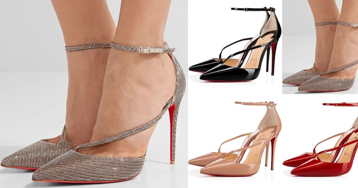separation shoes d4cc4 6358c Fliketta Ankle-Strap Pointy-Toe Pumps by Christian Louboutin