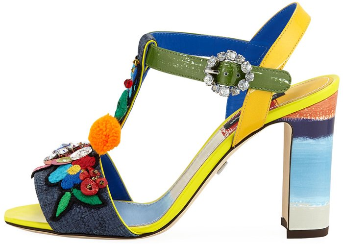 Dolce & Gabbana Flower Patch Embellished Block-Heel Sandal