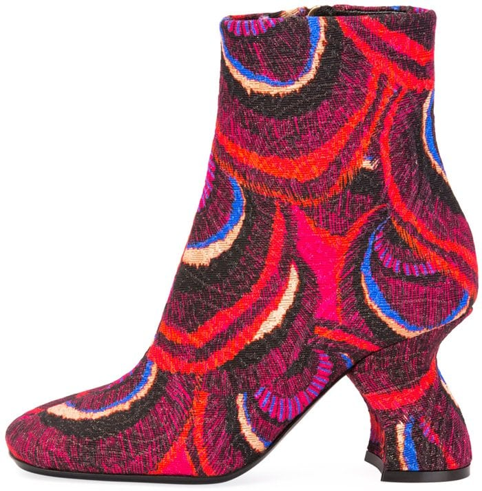 "This printed brocade bootie from Dries Van Noten boasts a 3.2"" angled block heel"