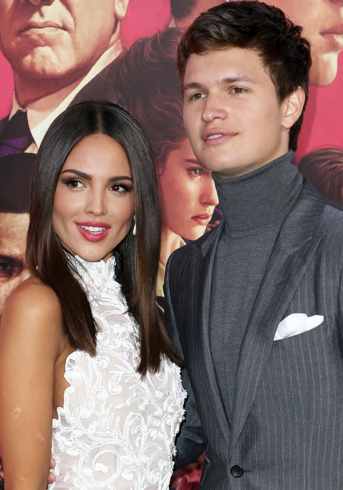 Eiza poses with her gorgeous co-star Ansel Elgort