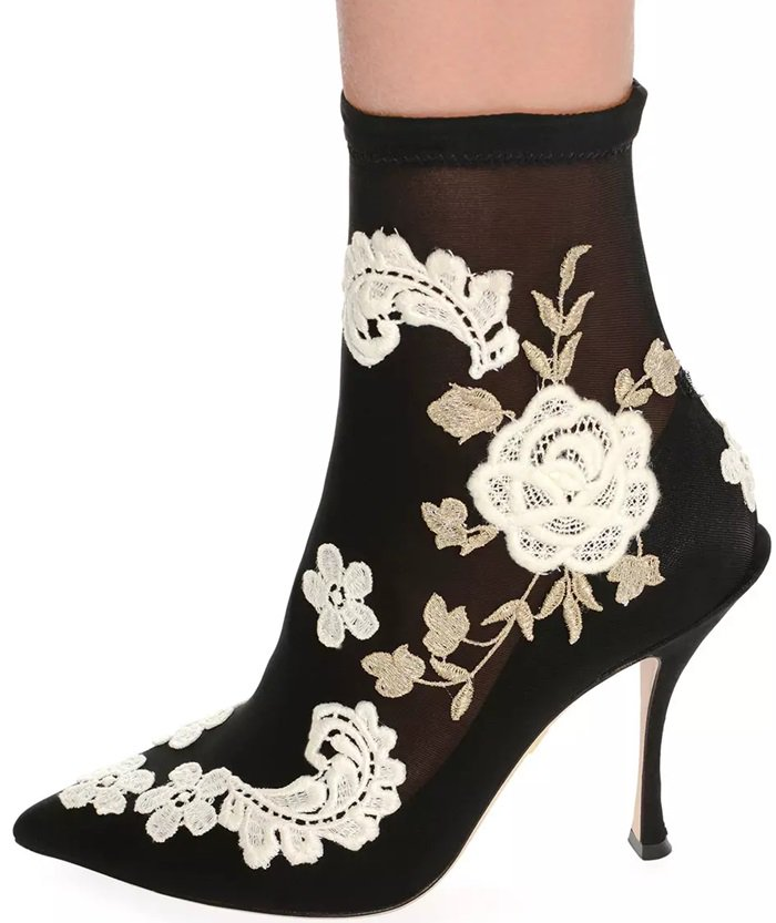 Embroidered-Knit Sock Ankle Bootie Dolce Gabbana