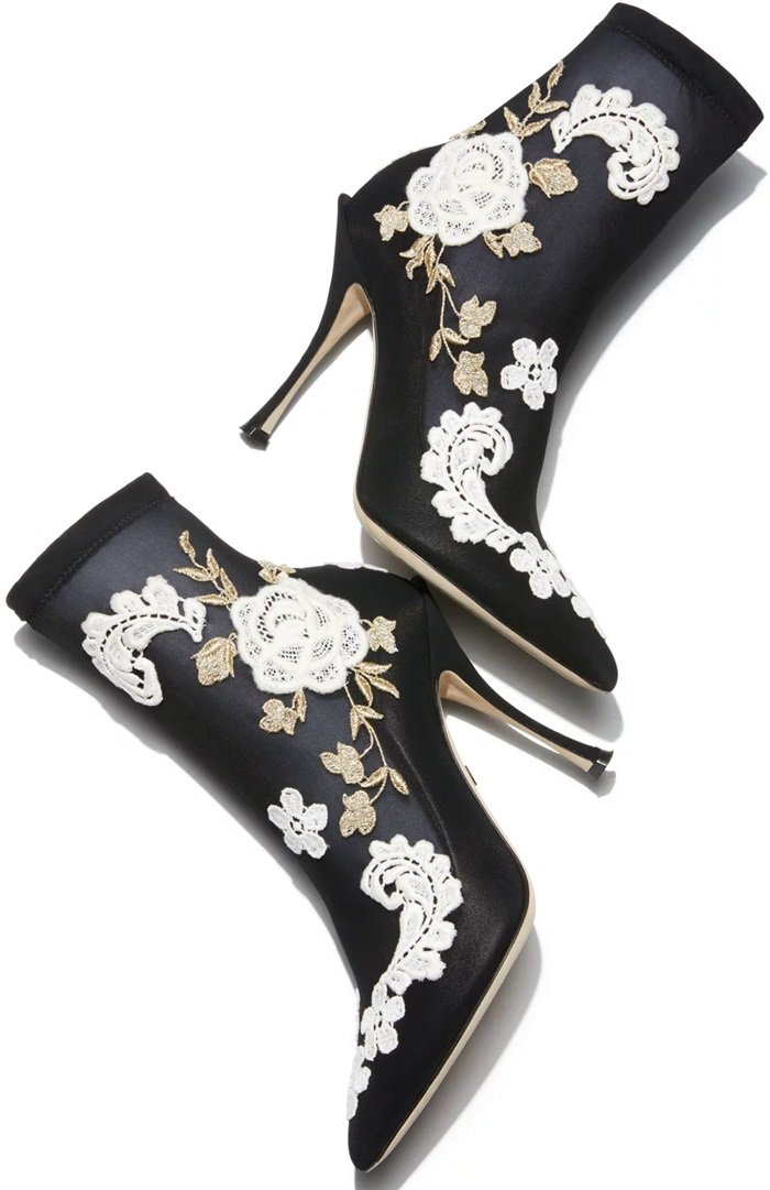 Mesh-knit ankle bootie from Dolce & Gabbana with flower embroidery
