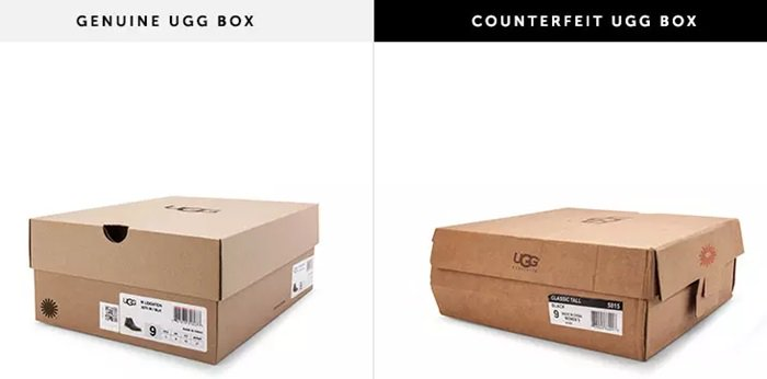 Real UGG boots come in a sturdy box made of strong cardboard material