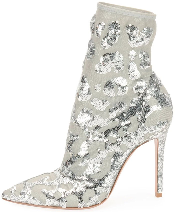 This metallic mesh bootie from Gianvito Rossi boasts sequined accents
