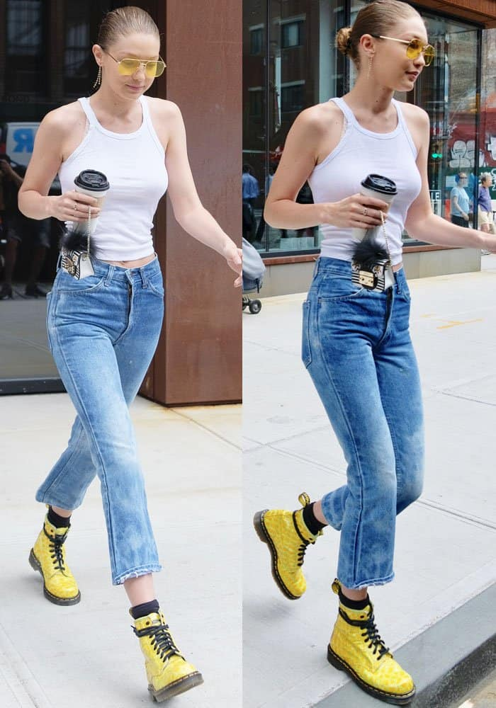 Gigi showed off her slim physique in a Re/done ribbed tank
