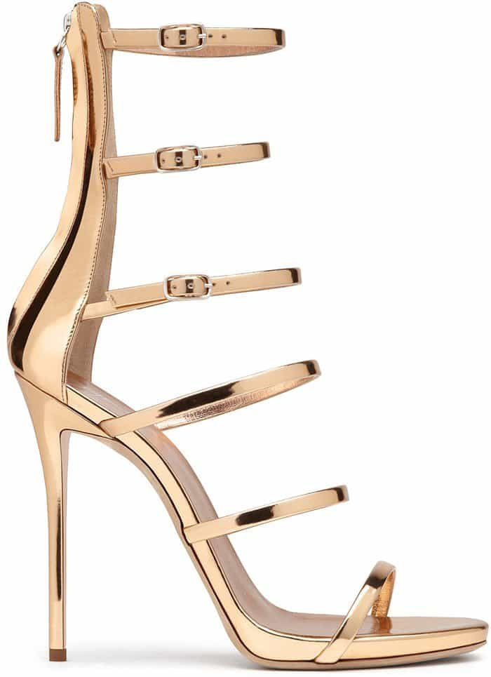 Giuseppe Zanotti Margaret Mirrored Rose Gold Leather Sandal