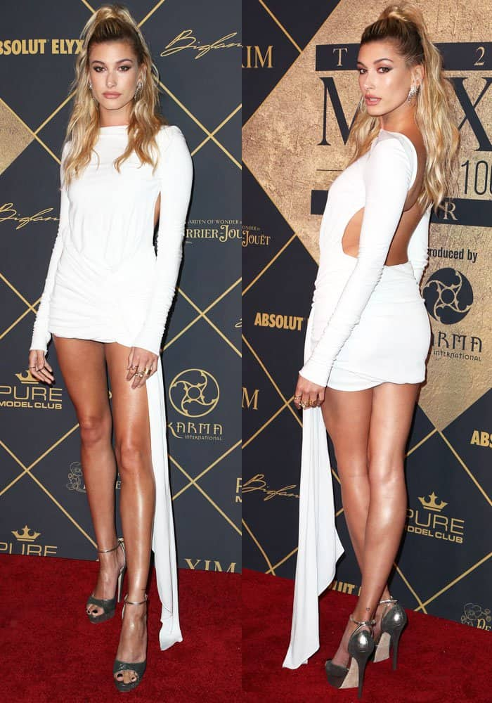 Hailey stuns in a white Alexandre Vauthier couture dress