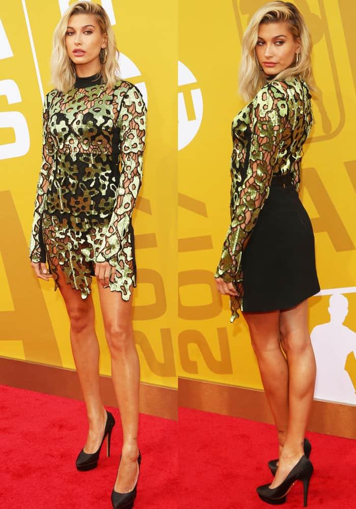 Hailey sparkled in a cutout David Koma dress