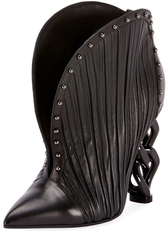 Ines Pleated Studded Chain-Heel Bootie