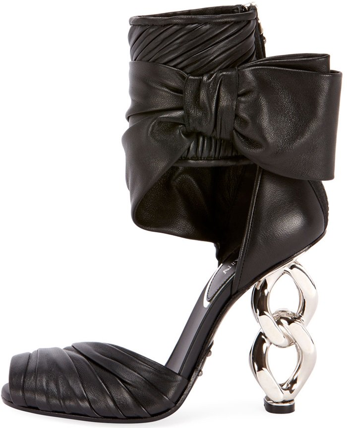 Ivy Leather Wrap Chain-Heel Sandals