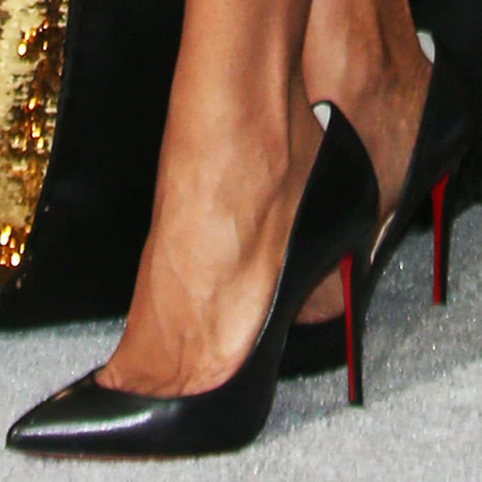 "No fear: Jada went for the classic office pump - the Christian Louboutin ""Pigalle Follies"" - on the red carpet"