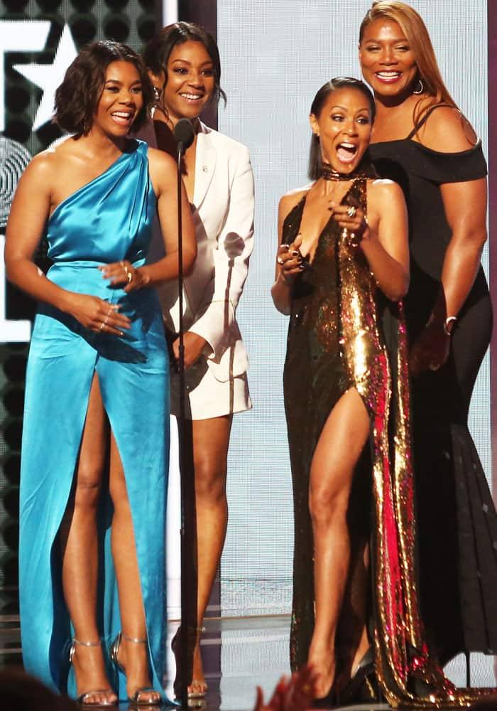 "Jada is joined onstage by her ""Girls Trip"" co-stars"
