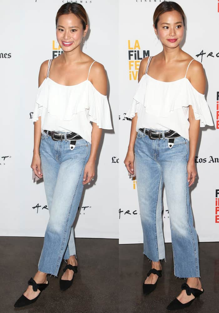 It's all in the quirks and details: Jamie redefines the white-top-and-jeans look